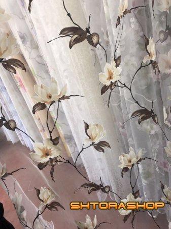 Тюль печать цветы
