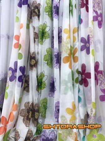Тюль имитация льна цветы